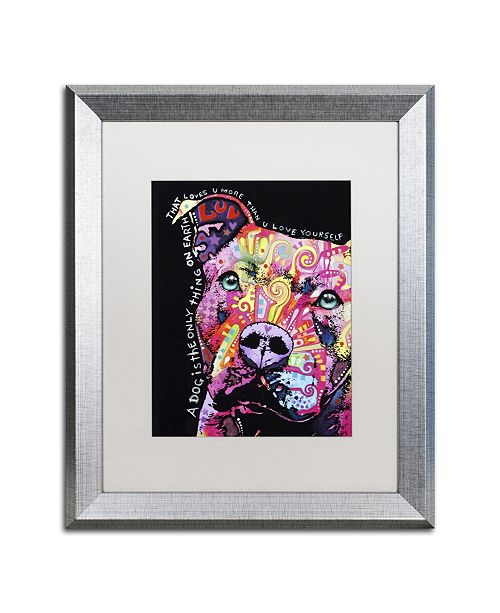 """Trademark Global Dean Russo 'Thoughtful Pit Bull' Matted Framed Art - 20"""" x 16"""" x 0.5"""""""