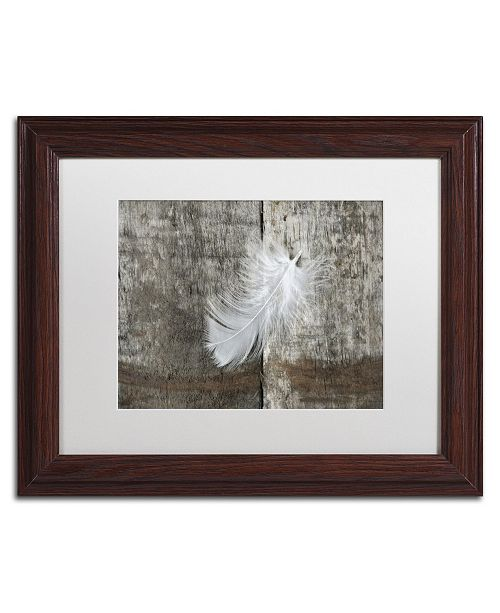 "Trademark Global Cora Niele 'White Feather on Rough Wood' Matted Framed Art - 14"" x 11"" x 0.5"""