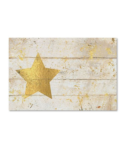 "Trademark Global Cora Niele 'Golden Star on White Wood' Canvas Art - 47"" x 30"" x 2"""