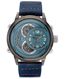 Kenneth Cole Reaction Men's Analog-Digital Blue Faux Leather Strap Watch 48mm