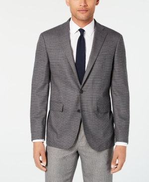 Cole Haan Coats MEN'S GRAND. OS WEARABLE TECHNOLOGY SLIM-FIT STRETCH GRAY TIC SPORT COAT