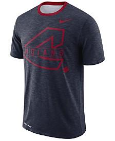 Nike Men's Cleveland Indians Dry Slub Stripe Logo T-Shirt