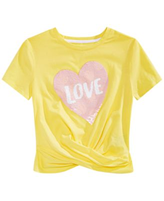 Big Girls Reversible Sequin Twist-Front T-Shirt, Created for Macy's