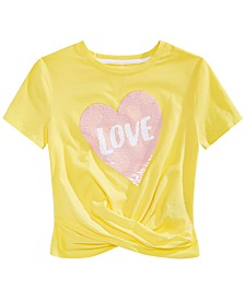Epic Threads Big Girls Reversible Sequin Twist-Front T-Shirt, Created for Macy's
