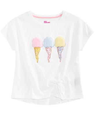 Big Girls Ice Cream Side-Tie T-Shirt, Created for Macy's