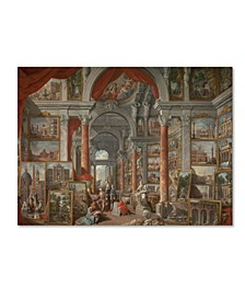 """Giovanni Pannini 'Picture Gallery With Views Of Rome' Canvas Art - 19"""" x 14"""" x 2"""""""