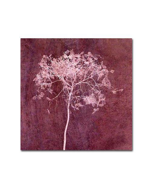 "Trademark Global Cora Niele 'Hortensia Silhouette Wine Red' Canvas Art - 24"" x 24"" x 2"""