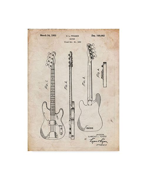 "Trademark Innovations Cole Borders 'Guitar 2' Canvas Art - 32"" x 24"" x 2"""