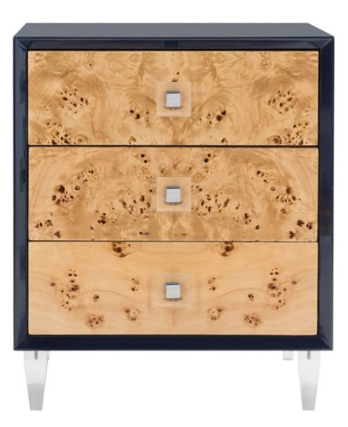 Furniture Paolo Burlwood End Table, Quick Ship