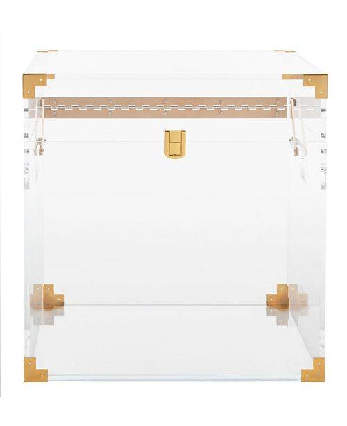 Furniture Isidra Acrylic Trunk End Table, Quick Ship