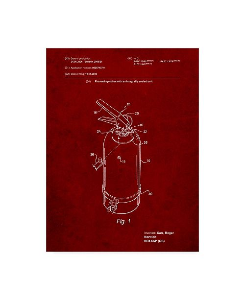"""Trademark Innovations Cole Borders 'Fire Extinguisher' Canvas Art - 24"""" x 18"""" x 2"""""""