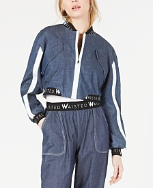 Waisted Graphic Denim Cropped Bomber Jacket