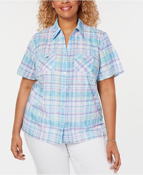 102380219 Alfred Dunner Plus Size Catalina Island Plaid Shirt & Reviews - Tops ...