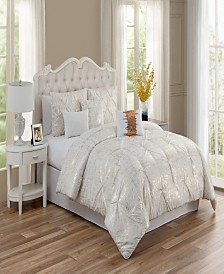 Bridges 7 Pc Queen Comforter Set with Gold Foil Printing