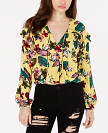 GUESS Floral-Print Long-Sleeve Top