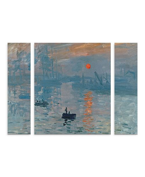 "Trademark Innovations Claude Monet 'Impression Sunrise' Multi Panel Art Set Small 3 Piece - 44"" x 34"" x 2"""