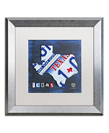 "Design Turnpike 'Texas License Plate Map' Matted Framed Art - 16"" x 16"" x 0.5"""