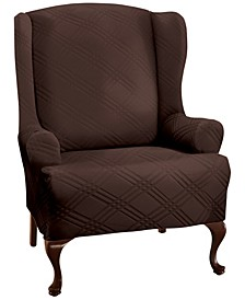 Double Diamond Wing Chair Stretch Slipcover
