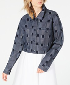 Line & Dot Cropped Checkered Jacket