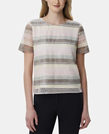 Tahari ASL Striped Crocheted Top