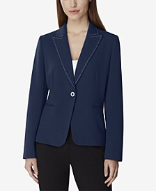 Single-Button Pick-Stitch Blazer