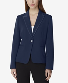 Tahari ASL Single-Button Pick-Stitch Blazer