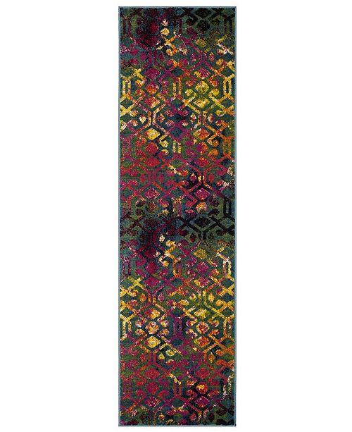 "Safavieh Cherokee Light Blue and Fuchsia 2'3"" x 8' Runner Area Rug"
