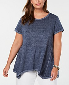 Plus Size Cotton Handkerchief-Hem Top, Created for Macy's
