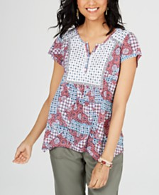 Style & Co Petite Printed Split-Neck Top, Created for Macy's
