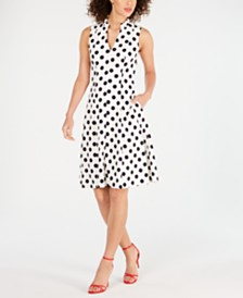 Jessica Howard Petite Polka-Dot Fit & Flare Dress