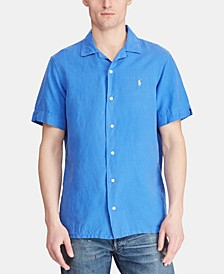 Men's Classic Fit Linen Blend Camp Collar Shirt