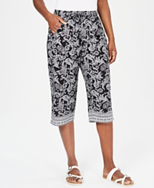 Karen Scott Petite Printed Drawstring Capri, Created for Macy's