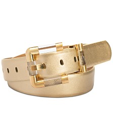 I.N.C. Lucite Buckle Faux Leather Belt, Created for Macy's