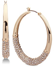 "DKNY Ombré Pavé Medium 1-1/3"" Hoop Earrings, Created for Macy's"