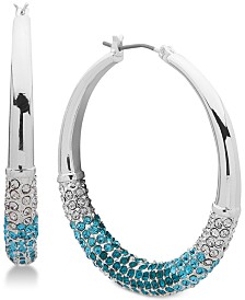 """DKNY Ombré Pavé Medium 1-1/3"""" Hoop Earrings, Created for Macy's"""