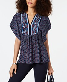 MICHAEL Michael Kors Wave Border Flutter-Sleeve Top, Regular & Petite Sizes