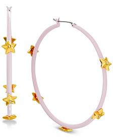 Crystal Star Sprayed Medium Large Hoop Earrings