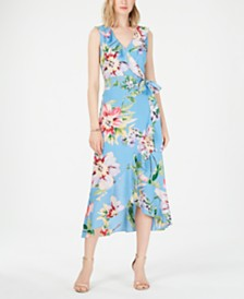 Vince Camuto Floral Faux-Wrap Dress