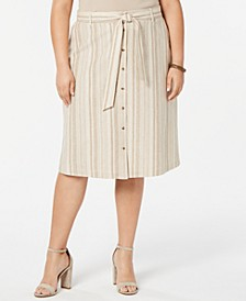 Plus Size Striped Button Front Midi Skirt, Created for Macy's
