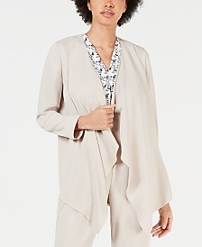 Bar III Open-Front Crepe Cardigan, Created for Macy's