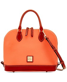 Dooney & Bourke Pebble Leather Zip Top Satchel