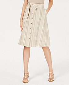 Striped Button-Front Midi Skirt, Created for Macy's