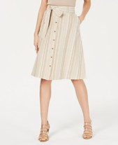 6e1ea71beb Bar III Striped Button-Front Midi Skirt, Created for Macy's