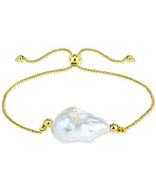 Cultured Baroque Freshwater Pearl (12-14mm) Bolo Bracelet in 14k Gold