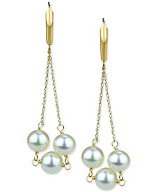 Cultured Freshwater Pearl (8-9mm) Chain Drop Earrings in 14k Gold