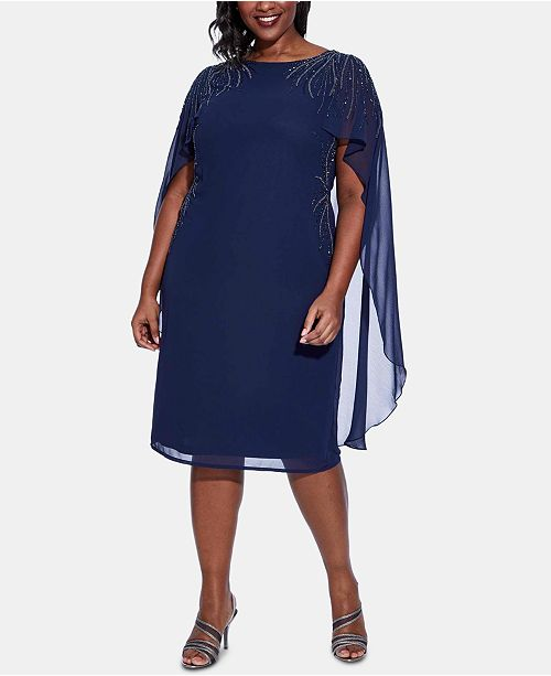 Adrianna Papell Plus Size Beaded Chiffon Cape Dress ...