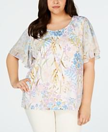 Calvin Klein Plus Size Printed Flutter-Sleeve Top