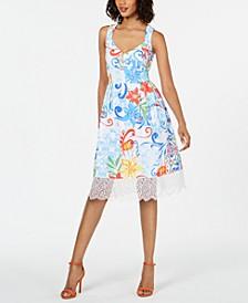 Lace-Trim Fit & Flare Dress