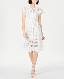 Short-Sleeve Checkered Dress