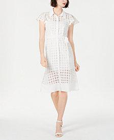 julia jordan Short-Sleeve Checkered Dress